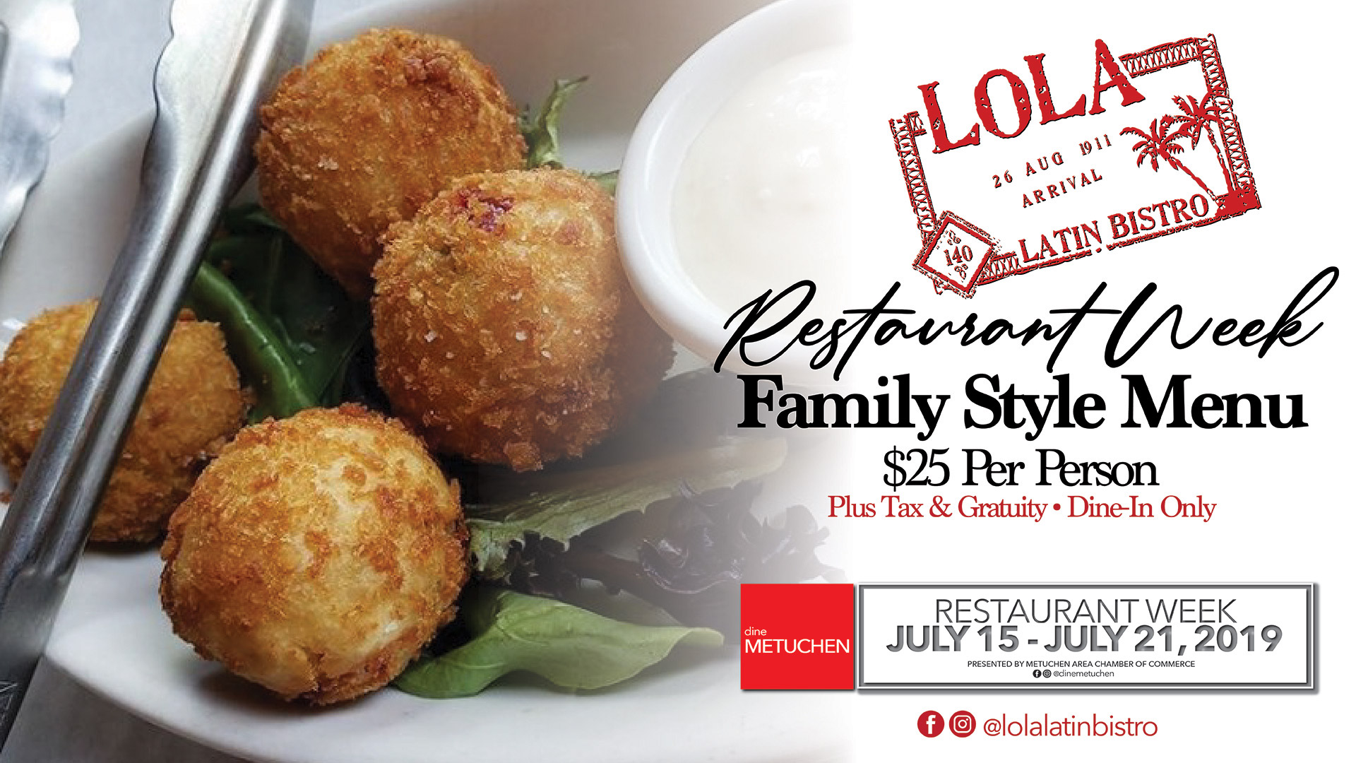 Restaurant Week – Family Style Menu – July 15th – 21st 2019
