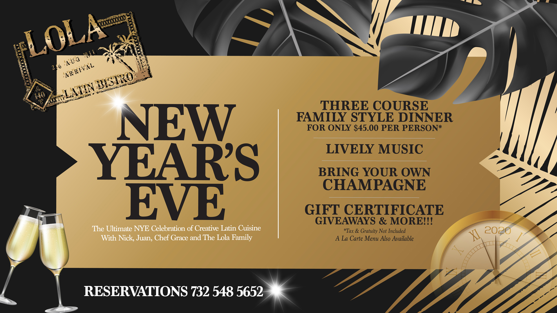 Celebrate a Happy New Year's 2020 at Lola – Reserve Today